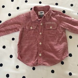 Old Navy Red Chambray Oxford Button Up Boy Girl